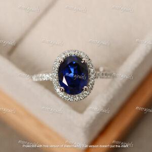 4.20Ct Oval Cut Blue Sapphire Diamond Halo Engagement Ring 14K White Gold Finish