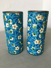 MATCHING PAIR CYLINDRICAL BLOSSOM SPILL VASES FRENCH EMAUX PROBABLY LONGWY