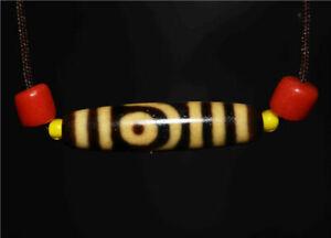 genuine tibetan 2 eyes dzi bead old agate amulet two eyed gzi antique pendant