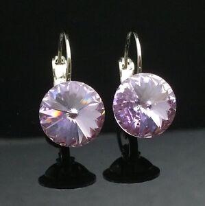 Genuine Swarovski Elements Lavender Purple Crystal Earring Wedding Silver Formal