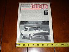 1967 CAMARO - ORIGINAL VINTAGE ARTICLE