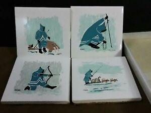 (4) Vtg.Ornamin Canada MIKA Ceramic Painted Inuit Hunter Coasters w/Box