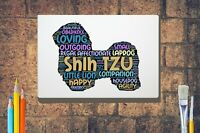 Shih Tzu Word Art Canvas A4 A3 A2 A1 Mothers Day Gift Personalised Option