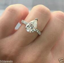 Pear Cut Diamond 2CT Solitaire Engagement Ring 14K White Gold Over