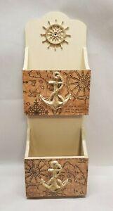 Handmade Wood Decoupage Mail Holder, Wall-Mounted, Vintage Nautical