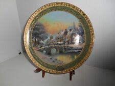 "Thomas Kinkade'S "" Cobblestone Christmas "" Plate # 5101 A With C.O.A.2005 Yr"