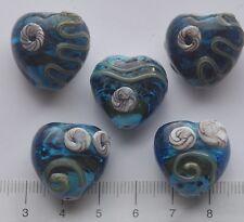 5 x trama grossa a forma di cuore, TURQ. vetro di Murano Vetro Perline 44gms. 5