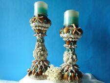 Sea Shell Candle  Holders -Artist Created - Coastal Nautical Decor-Set Of 2