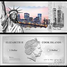 Skyline Note NEW YORK USA - Flexible 5 Gram Silver Dollar - 2017 Cook Islands $1
