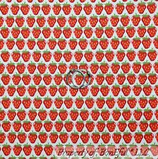 BonEful Fabric FQ Cotton Quilt White Red Green Strawberry Country Market Stripe