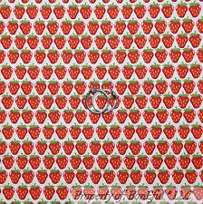 BonEful Fabric FQ Cotton Quilt VTG White Red Green Strawberry Farm Market Stripe