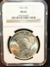 1922 Peace Dollar NGC MS 65