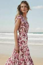 Steele X Anthropologie Mahana Ruffled Pink FLoral One Shoulder Dress Size M NWT