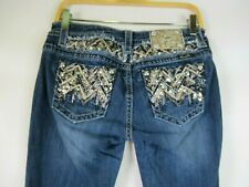 F2222 Women's MISS ME Embroidered Sequins Boot Cut Denim Jeans Size 30