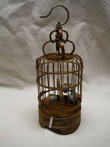VINTAGE ASIAN BAMBOO BIRD CAGE W 3 SMALL PORCELAIN FEEDERS HAND CARVED