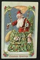 ~Santa Claus in Hot Air Balloon Made of Holly~Toys~Antique Christmas Postcard~b2