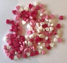 200 PINK & WHITE TINY HEARTS VALENTINES WEDDING EDIBLE ICING CAKE TOPPERS