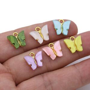 10PCS Gold Enamel Butterfly Charm Pendant for Jewelry Making Bracelet Necklace