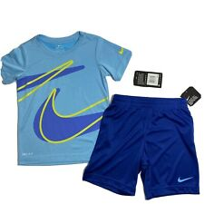 Nike Boys Dri-Fit Shorts & Tee Shirt Set Outfit Sz 5 (S) Blue