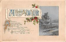 1913 Art Nouveau Winsch New Year Postcard- Holly by Rural Scene