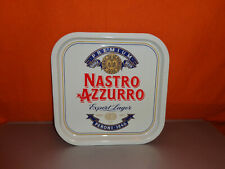 Ancien PLATEAU PUBLICITAIRE MÉTALLIQUE BIERE NASTRO AZZURRO Beer Valentino Rossi