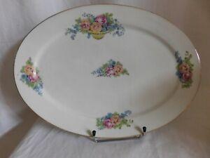 Balleroy & Cie SD Limoges France Dish Oval Porcelain Decor Baskets of Roses