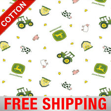 """Cotton Fabric John Deere Tractor Farm Style 55573 45"""" Wide Free Shipping"""