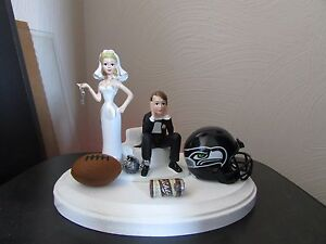 Seattle Seahawks Cake Topper Bride Groom Wedding Day Funny Football Theme