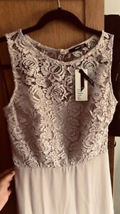 TFNC bridesmaid exclusive open back scalloped lace dress in mink Size 10