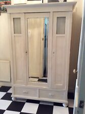 Antique Shabby Chic French Triple Mirrored Armoire Wardrobe