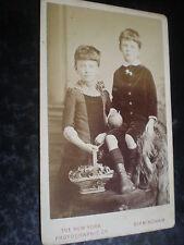 Cdv old photograph girl basket boy ball by NY Photographic Birmingham c1880s