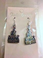 Disney Cinderella's Castle Dangle Earrings w/ .925 Sterling Silver Hook NEW