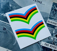 x2 World Champion Rainbow Stripes Quality Laminated Decals with White Edges