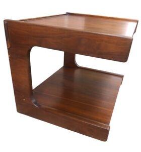 Vintage 70's Lane Cantilever Walnut Side End Table Mid Mod Retro Lane Furniture