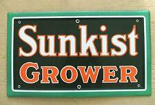 Vintage Porcelain Sign Sunkist Orange Soda Grower Florida California Juice