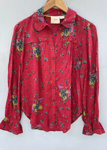 Anthropologie Top 4 Maeve Pink Floral Shirt Peter Pan Collar Blouse Small