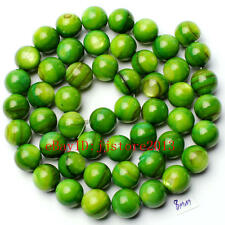 8mm Smooth Natural Green Shell MOP Round Shape Gemstone Loose Beads Strand 15""
