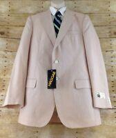 Vtg 90s Haggar Jacket Blazer 42L Comfort Plus Nude Cotton Blend Deadstock Retro