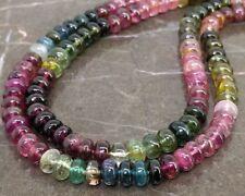 Best deal!! Natural Multi Tourmaline 6mm Smooth Rondelle Gemstone Beads Strand