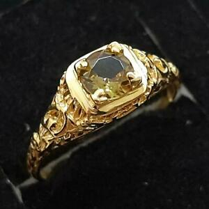 Antique Filigree .55ctw Alexandrite 14K Yellow Gold 925 Silver Ring Size 6