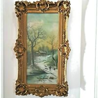 ANTIQUE LANDSCAPE ART PRINT OLD ORNATE FRAME ARTIST UNKNOWN HOUSE IN WOODS W/BOY