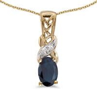 14k Yellow Gold Oval Sapphire and Diamond Pendant (no chain) (CM-P2584X-09)