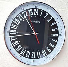 Argent Grand chromé horloge murale tubé noir épais classique 40cm quartz