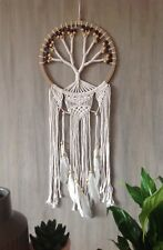 Macrame Tree Of Life Dream Catcher 32cm Web 2 Colour Wood Beads & White Feathers