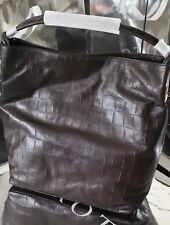 OROTON Kiera Croc Large Hobo Brown Leather Handbag Shoulder Bag  BNWT RRP $695