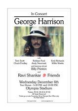 George Harrison / Beatles 1974 Detroit Concert Poster