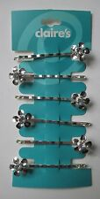 16CD silver tone flower with sparkle crystal 6 HAIR JEWELRY BOBBY PIN CLAIRE's