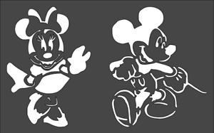 1- 7x11 inch Custom Cut Stencil, (NB-62) Mickey and Minnie Mouse