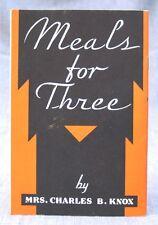 Vintage Advertising Recipe Booklet -- Meals for Three Booklet -- Knox Gelatine