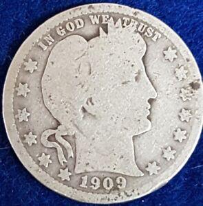 1909 Silver Barber Quarter   ID #A6-30
